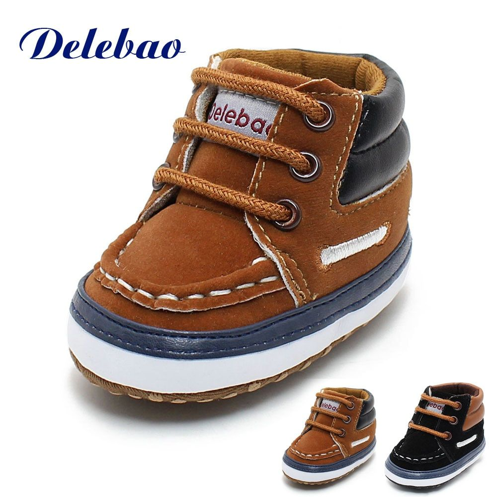 Delebao Winter Frosted Texture Soft Bottom Cotton Toddler Shoes By Hand Baby Shoes Cotton Shoes Keep Warm Lace Up First Walkers