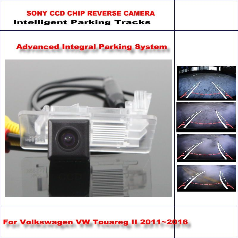 Intelligent Parking Tracks Rear Camera For Volkswagen Touareg II 2011~2016 Backup Reverse NTSC RCA AUX HD SONY CCD 580 TV Lines