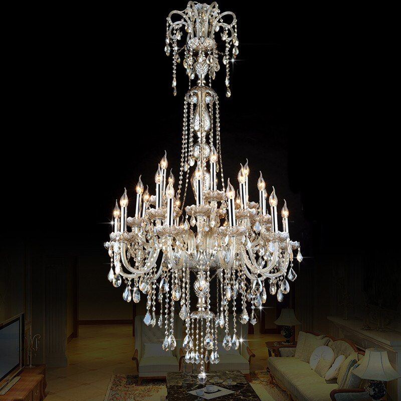 European Style Crystal Lamp Modern Living Room Simple Candle Light Large Complex Villa Project Staircase chandelier 12 or 18 arm