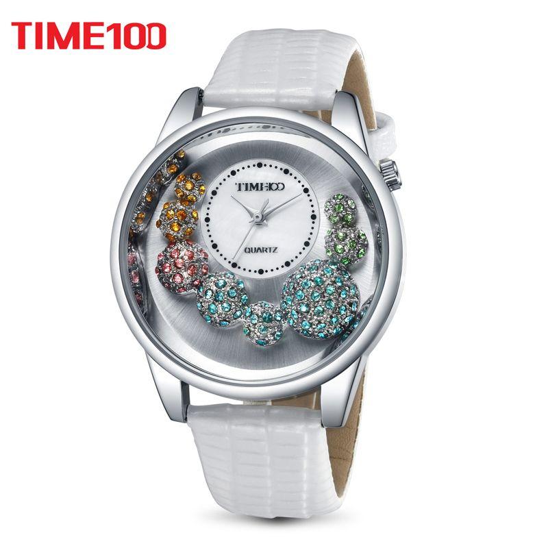 TIME100 женские часы большой циферблат перламутра индивидуальные наручные кварцевые часы стрелочный корпус со стразами белый кожаный ремешок...