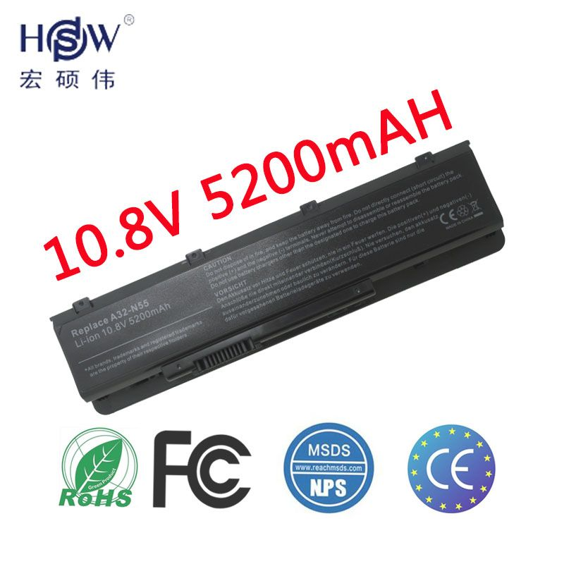 HSW LAPTOP NEW laptop battery A32-N55 07G016 HY1875 for ASUS N45 N45E N45S N45F N55 N55E N55S N55SF N75 N75E N75S N75SF battery