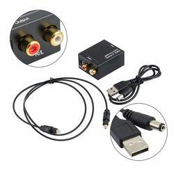 Digital óptica Coaxial Toslink señal a convertidor de Audio analógico adaptador RCA Digital a analógico Audio Converter negro