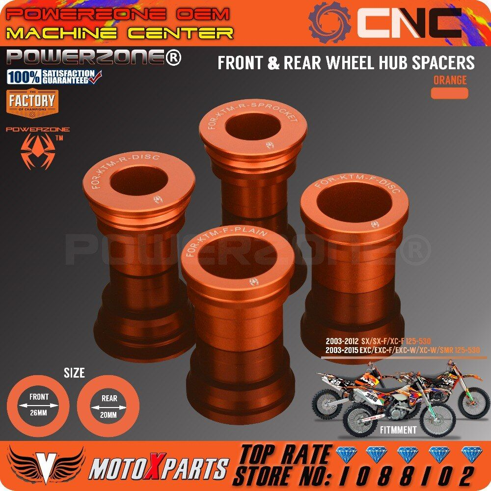 PowerZone Front Rear Wheel Hub Spacers For KTM SX F XCF EXC EXCF EXCW SMR 125 250 300 350 400 450 525 530 MX Motocross Enduro
