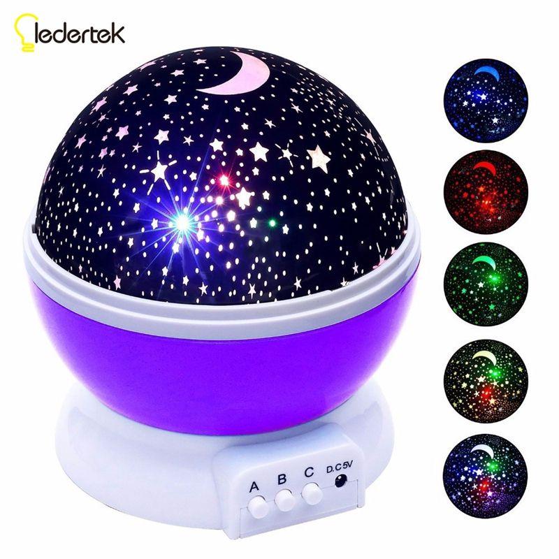 Ledertek Stars Starry Sky LED Night Light Projector Luminaria <font><b>Moon</b></font> Novelty Table Night Lamp Battery USB Night light For Children