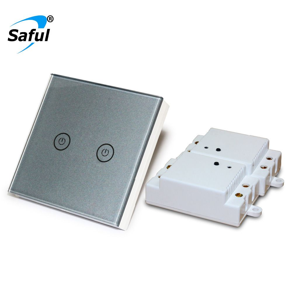 Saful Wall Touch Switch 2 gang 2 Way Remote Control Touch Switch Power for Light ,Crystal Glass Panel wall switch
