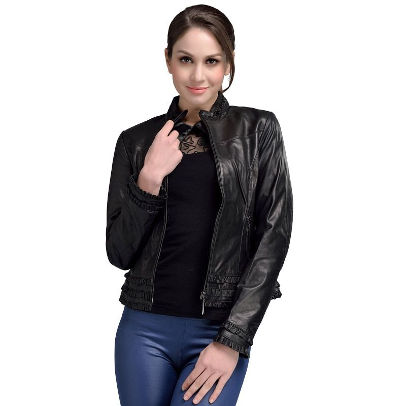 2017 Spring Guaranteed Genuine Leather Jacket Woman Black Stand Collar Elegant Sheepskin Leather Jacket Short Plus Size 4XL 1293