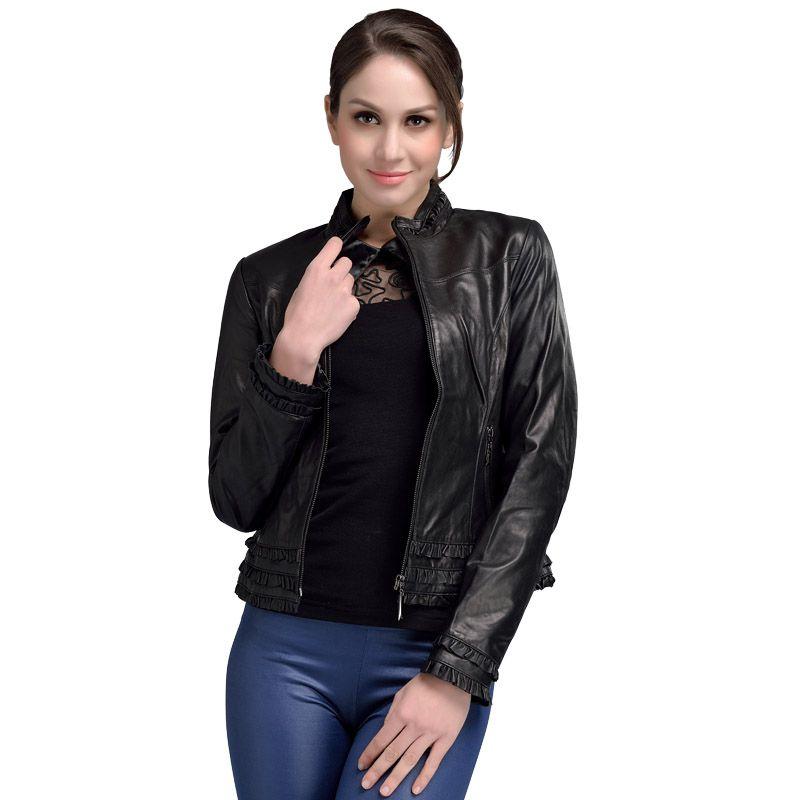 2017 printemps garanti en cuir véritable veste femme noir col montant élégant en peau de mouton en cuir veste courte grande taille 4XL 1293