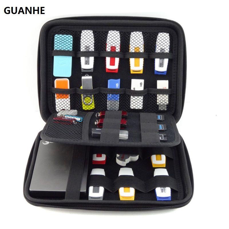 GUANHE Electronics Cable Organizer Bag USB <font><b>Flash</b></font> Drive Memory Card HDD Case Travel CASE