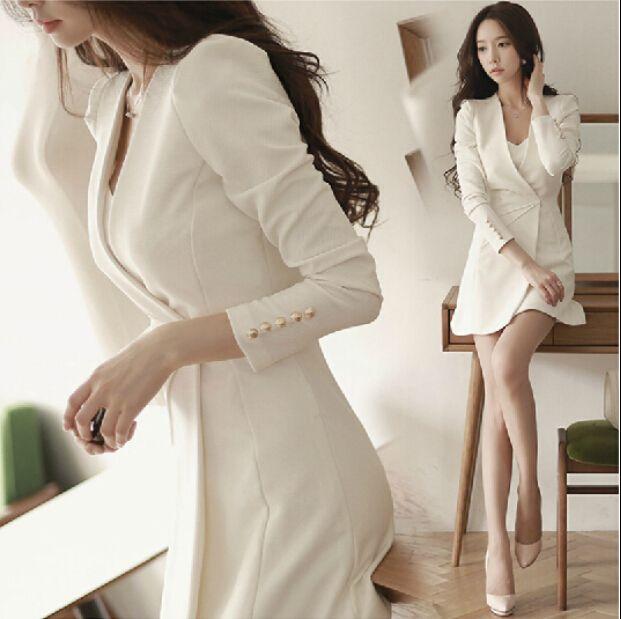 2017 printemps été femmes robe pleine mince à manches longues solide mince taille Mini robes blanc noir 9810