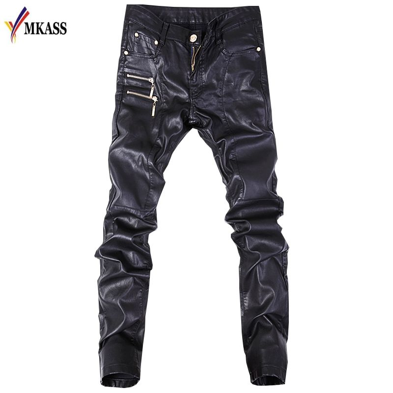 New Autumn Biker Skinny Men Gothic Punk Fashion Faux Leather Pants PU Buckles Hip Hop Zippers Black Leather Trousers Male