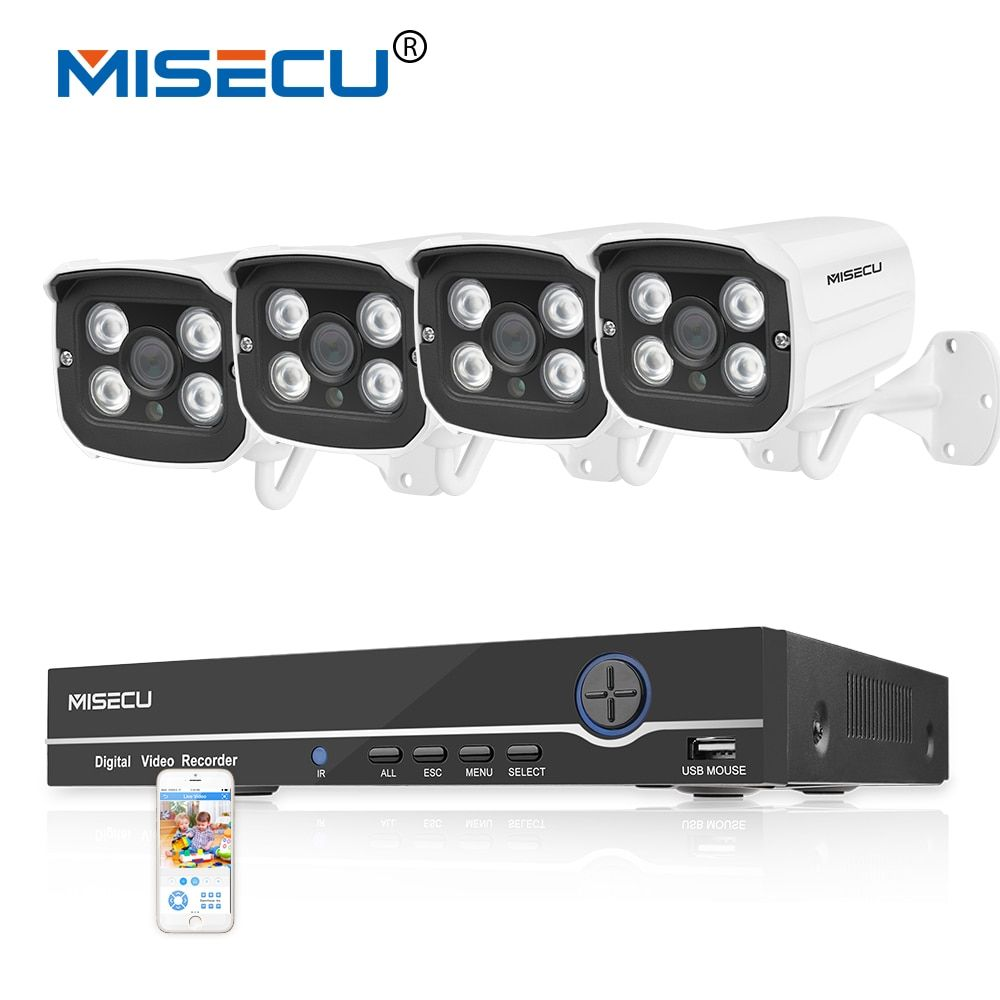 4CH Real HD POE NVR 48V Onvif 1080P HDMI 4 array IR Led POE NIGHT 4pc waterproof P2P POE cloud Surveillance system cameras kit