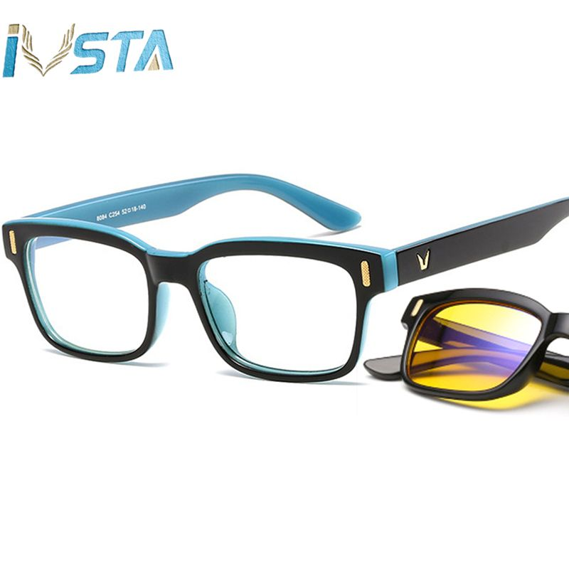 IVSTA Prescription Optical Glasses Frame Men anti Blue Light Glasses Computer Myopia night Vision Clear Gaming Spectacle Frames