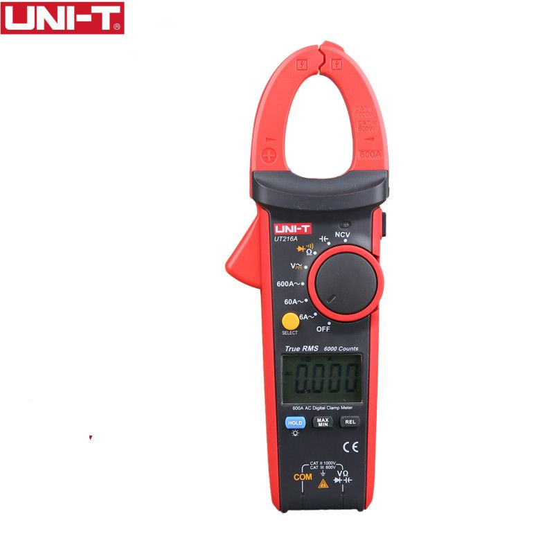 UNI-T UT216A 600A Digital Clamp Meters DC Current NCV Tester V.F.C Diode LCD Display Work Light AUTO Range Multimeters