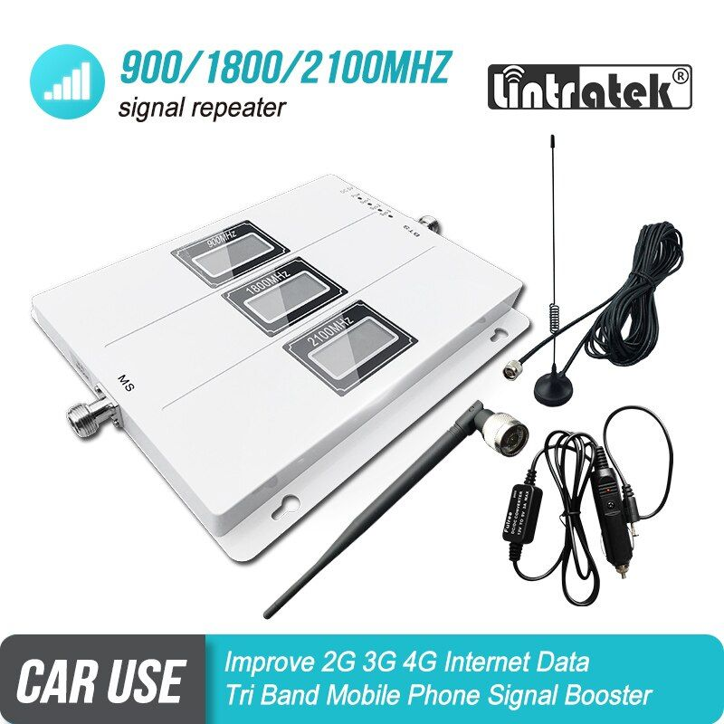 Car Use Tri Band Signal Booster GSM 900 UMTS 3G 2100 LTE 1800 Mobile Signal Repeater Cellular Amplifier 4G Car Kit Set S5