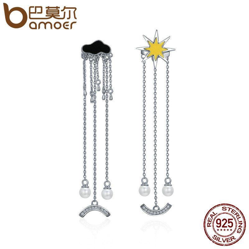 BAMOER Trendy 925 Sterling Silver I Love Sunny Day Weather Long Tassel Drop Earrings for Women Sterling Silver Jewelry SCE216