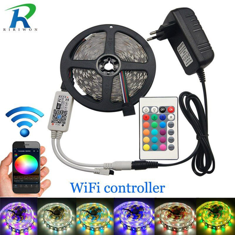 5m LED Strip 5050 RGBW DC 12V Flexible LED Light RGB + White / RGB + Warm White 60 LED/m and WiFi 24Key Controller 4A adapter