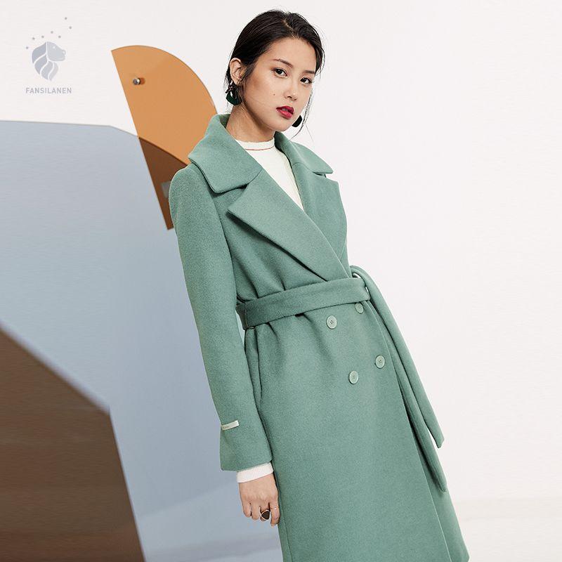 FANSILANEN 2017 Neue Ankunft Mode Herbst/Winter Lässige Lange Wolle Kaschmirmantel Solid Woolen Arbeit Frauen Weibliche Mantel Z73100