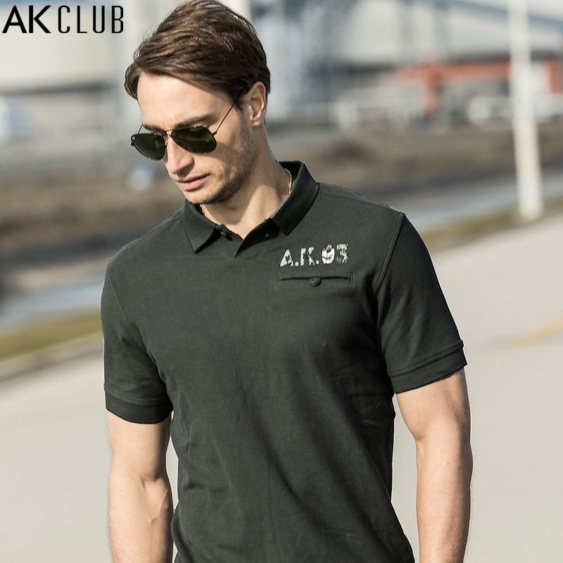 AK CLUB Männer Polo Shirt Vintage Stil Zarte Knopfleiste Tasche Polo Brief Print Kurzarm Polo Beiläufige Marke Polo-Shirt 1716018