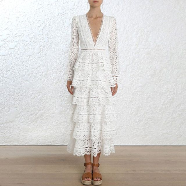 High-end Runway Dress 2018 Women Autumn Sexy Elegant V-neck Long Sleeve Layer White Hollow Out Lace Maxi Dress