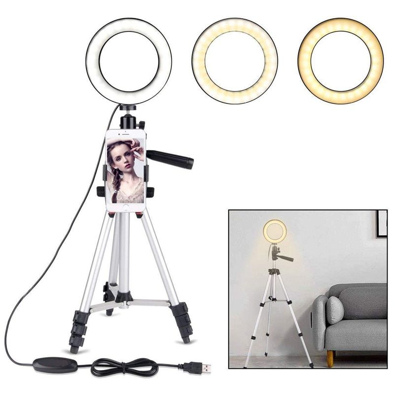 Camera Photo Studio Phone Video LED Beauty Ring Light Photography Dimmable Ring Lamp+Tripod for Selfie/Live Show/Fill-in Light