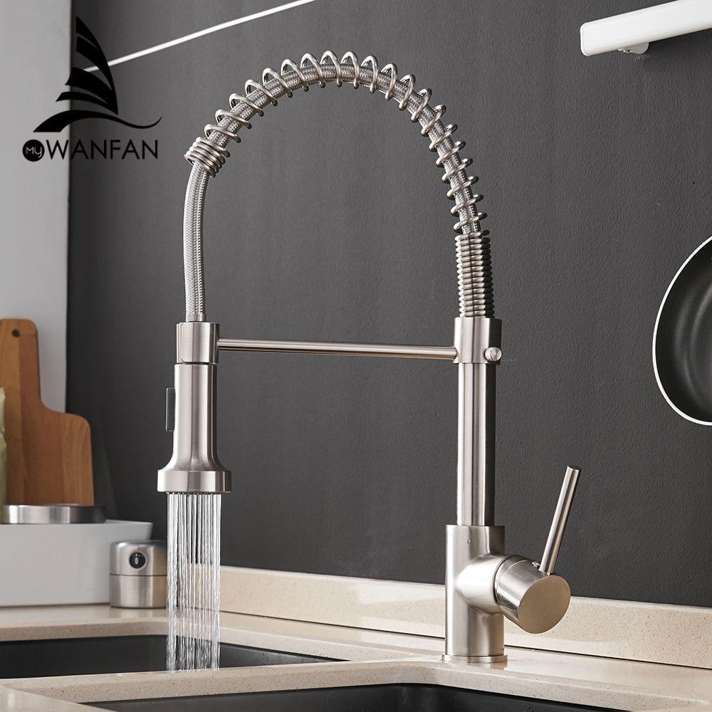 Robinets de cuisine brosse robinets en laiton pour évier de cuisine levier unique tirer ressort bec mélangeurs robinet eau chaude froide grue 9009