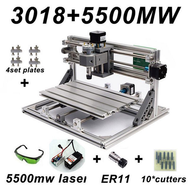 Mini CNC 3018 2418 1610 Gravur Maschine mit 5500 mw Laser Kopf Holz Router PCB Fräsen Carving Maschine DIY CNC mit GRBL