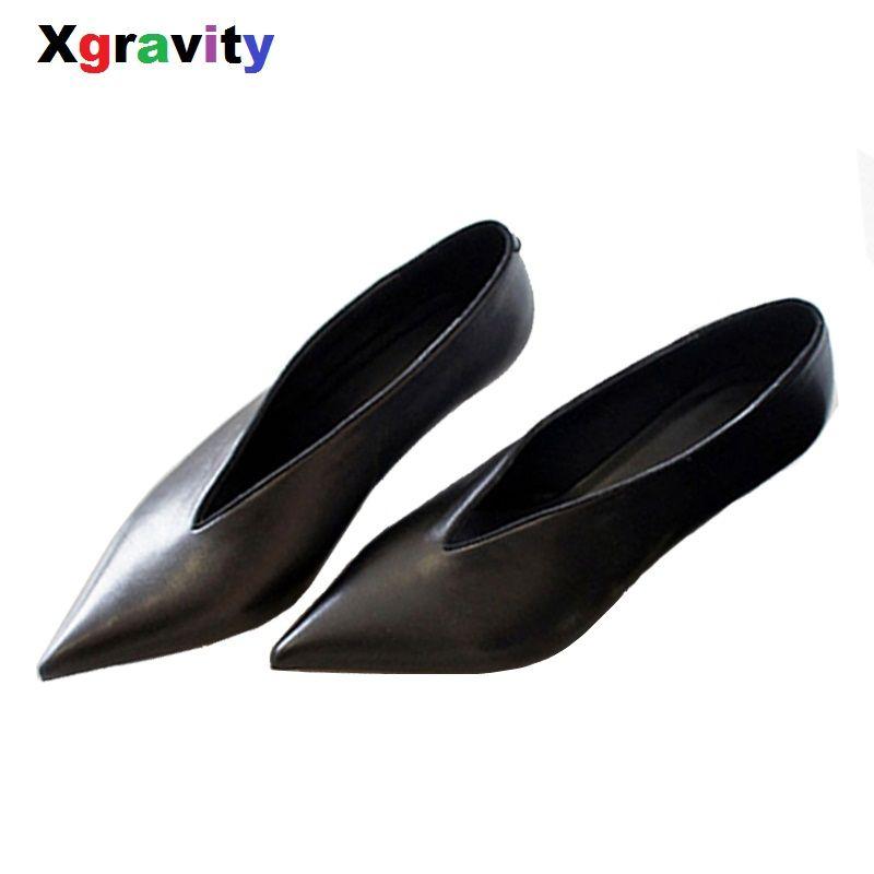 XGRAVITY European American Pop Star Pointed Toe Thin Heel Woman Shoes Deep V Design Lady Fashion Shoes Elegant Women Shoe C264
