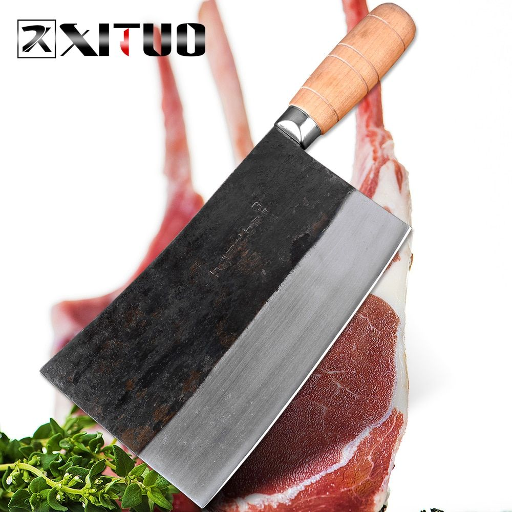 XITUO The latest big Asian Chinese meat cleaver Butcher slaughter knives High carbon steel Full Tang cleaver slice chef knife Ho