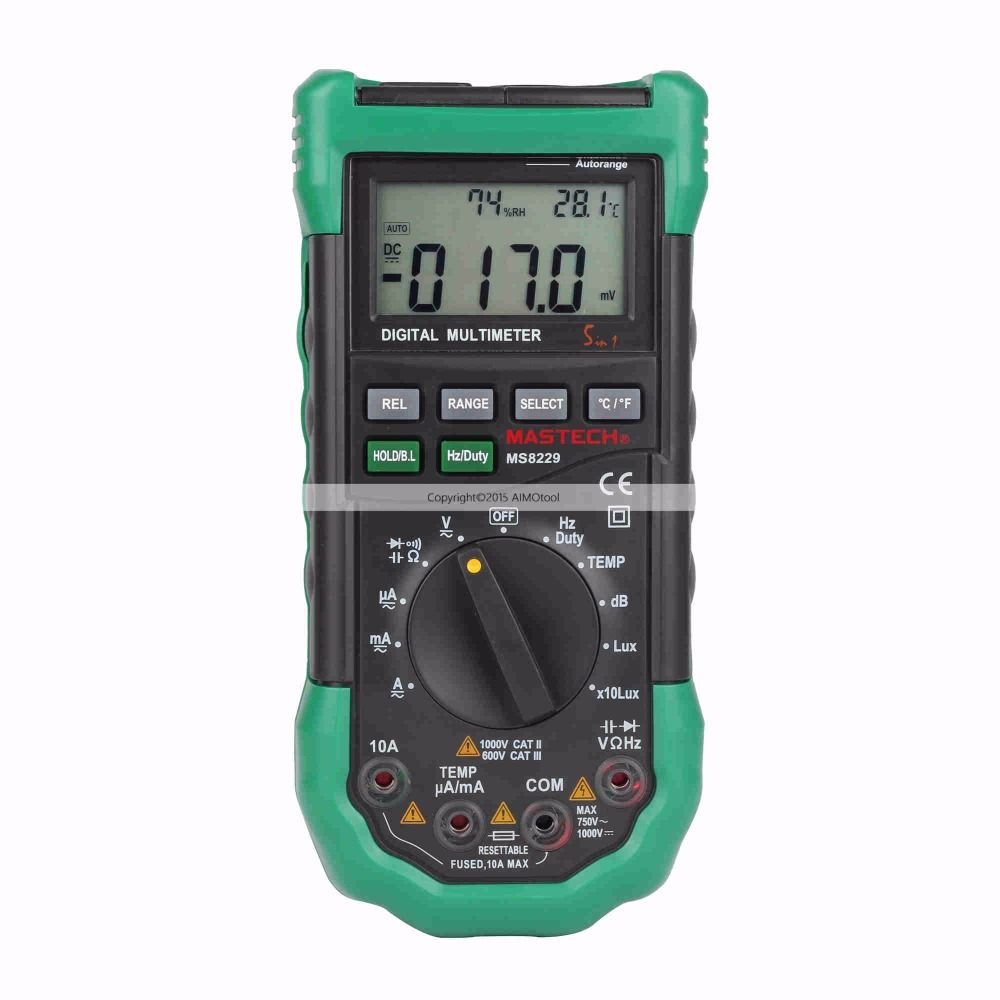 MASTECH MS8229 Auto Range LCD Backlight DMM Digital Multimeters w/ Noise Illumination Temperature & Humidity Tester