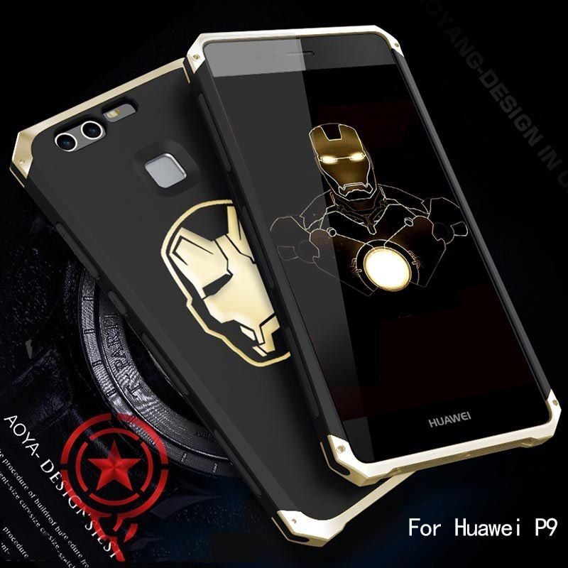 Shockproof fasion Case for Huawei P9 case cover aluminum head PC frame solid protection anti-fall slim cover solies