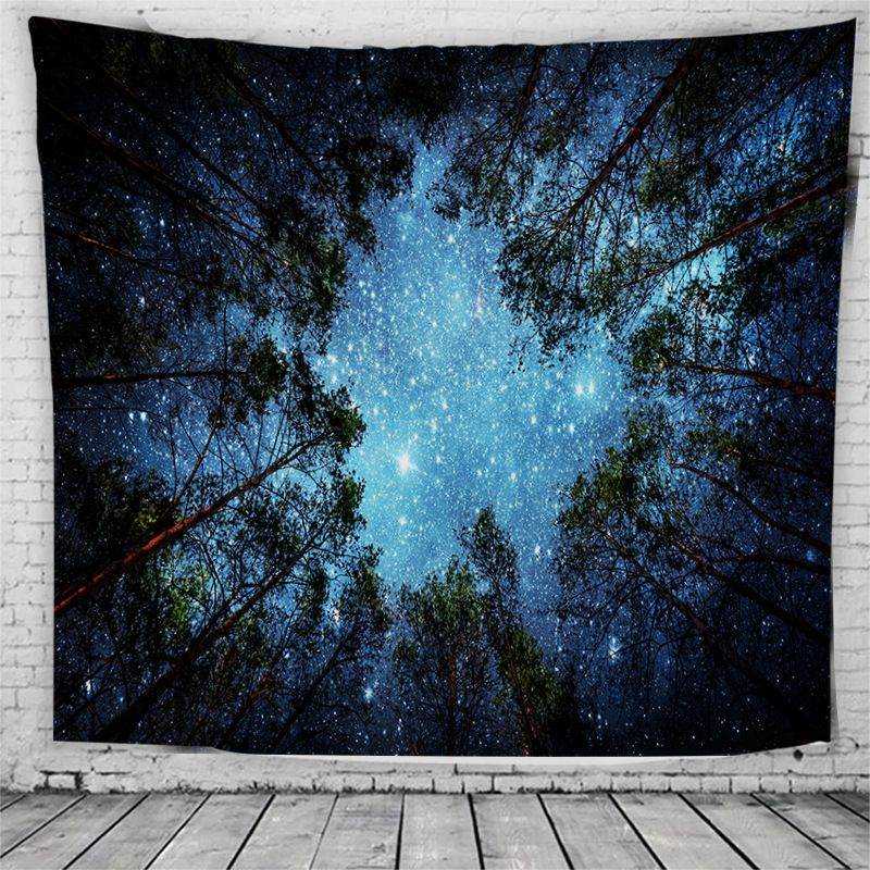 Psychedelic Forest Trees and Stars Starry Sky Fabric Wall Hanging Tapestry Decor Polyester Curtains Plus Long Table Cover