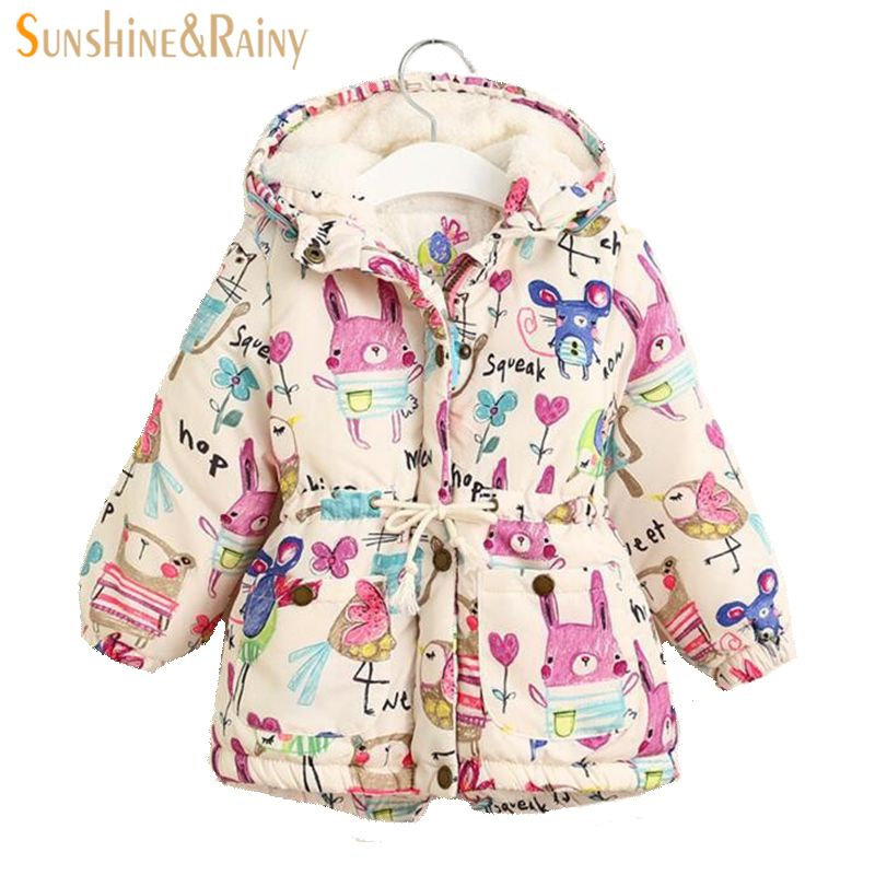 Thick Winter Girls Jackets And Coats Kids Graffiti Parkas Hooded Baby Girl Warm Outerwear <font><b>Clothes</b></font> Cartoon Children's Jacket Coat