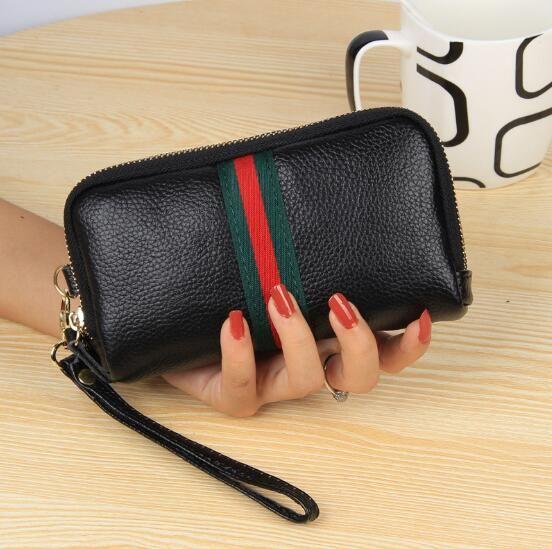 Luxury Genuine Leather Women Wallet double Zipper Female Purse Brand Clutch Phone Coin Holder Wristlet key phone bag for women