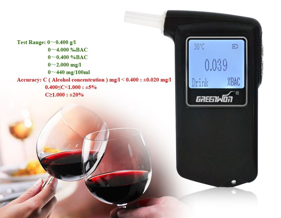 2017 Best Selling Fuel cell sensor breath alcohol tester Certified Patent Breathalyzer Promotional Gift Drive Safety Digital