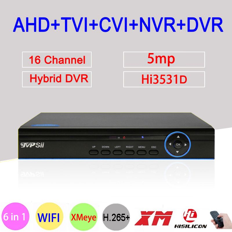 Blau Panel 5MP Xmeye H.265 + Hi3531D 16 Kanal 16CH 6 in 1 Wifi Hybrid XVI NVR CVI TVi AHD CCTV Sicherheit Kamera DVR FreeShipping