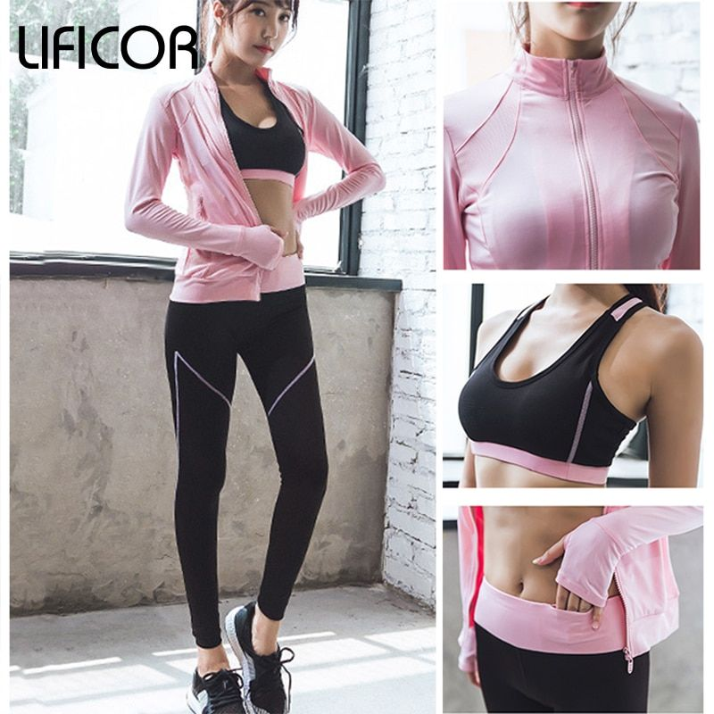 Woman Yoga Sets Sports Suit 3 Piece Sexy Women Gym Clothes Jacket Legging Bra Set Sports Running Workout Fitness Coat Set