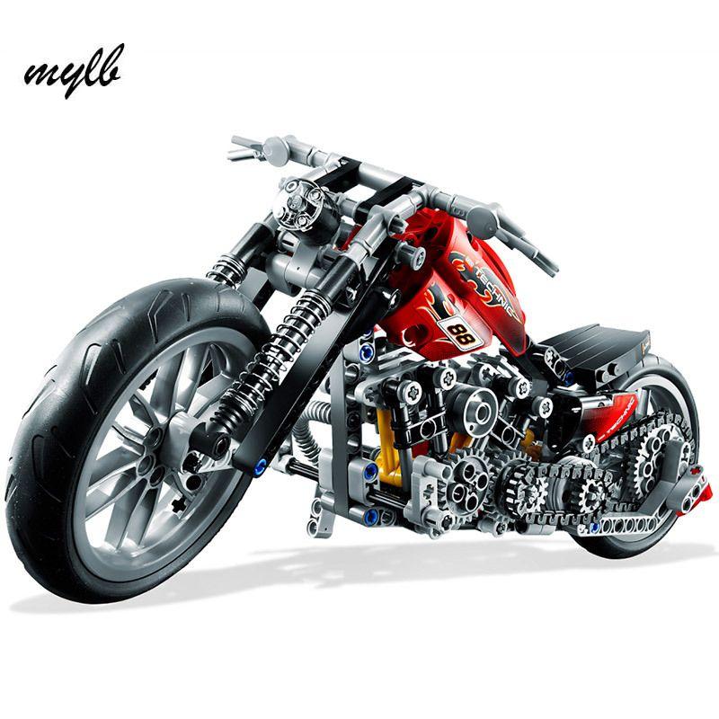 Mylb CHAUDE 378 pcs Moto Technic Exploiture Modèle Harley Véhicule de Construction Briques Block Set Jouet Cadeau Compatible Avec DIY