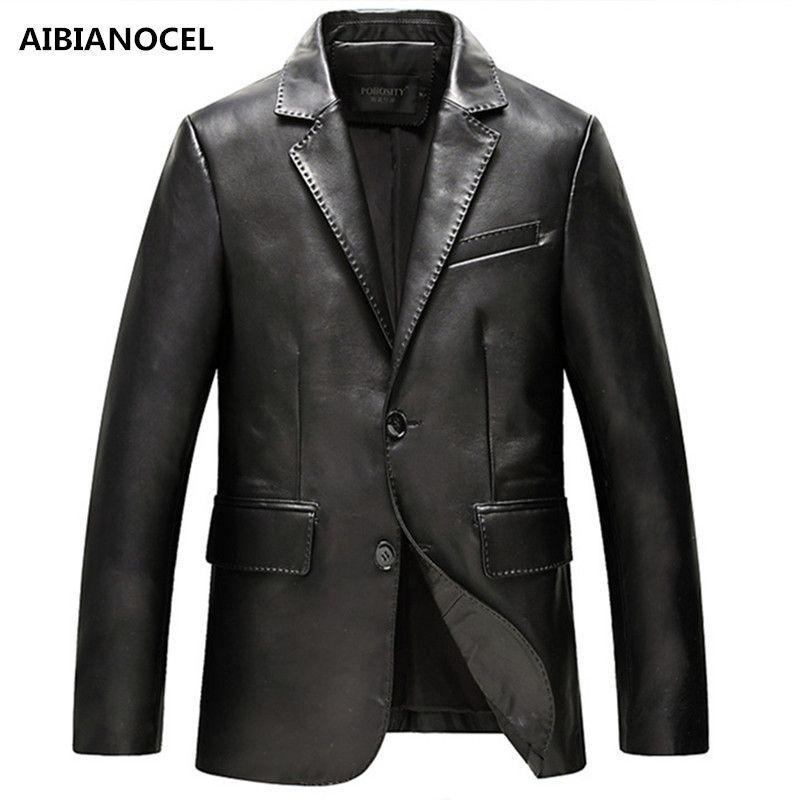 AIBIANOCEL Brand New Spring Fashion Haining Leather Jacket Men Lapel Collar Genuine Leather Jacket Male Coats Jaquetas Sheepskin