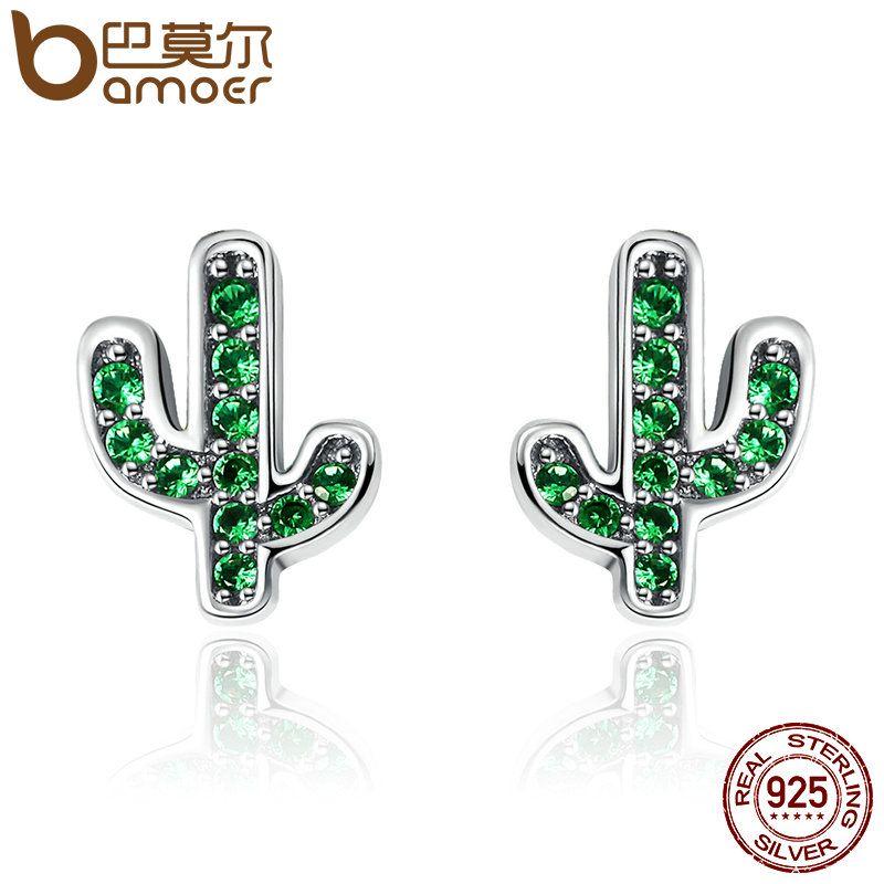 BAMOER Heißer Verkauf 925 Sterling Silber Dazzling Grün Kaktus Kristall Stud Ohrringe für Frauen Authentische Silber Schmuck Bijoux SCE097