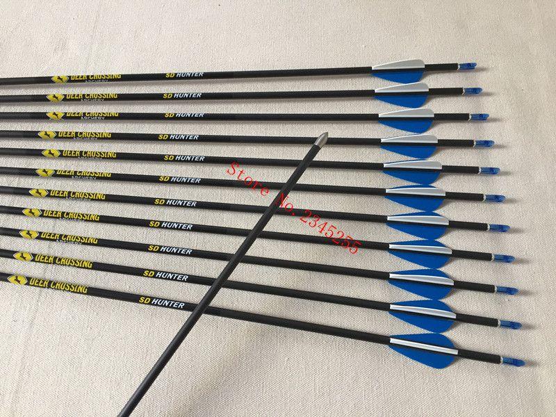 12pcs Archery carbon arrow spine500/600/700/800 ID4.2 1.75