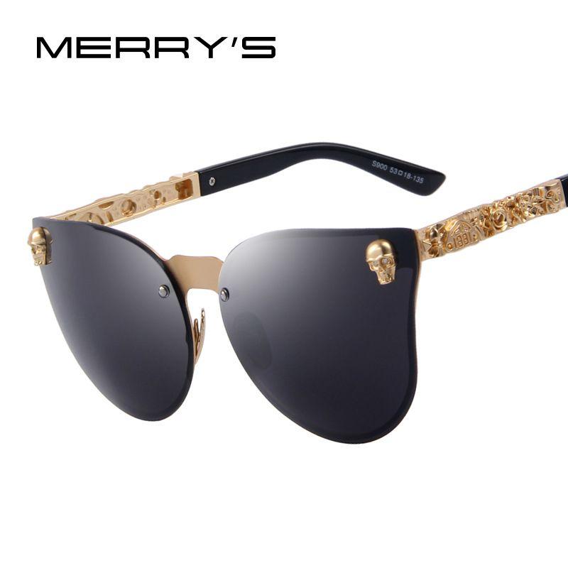 MERRYS Fashion Women Gothic Eyewear Skull Frame Metal Temple Oculos de sol UV400