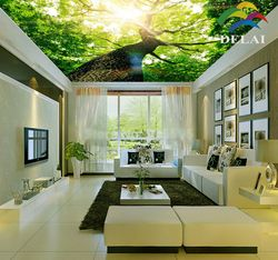 T-1611 Big Tree with huge trunk printing ceiling film sunlight through tree construction material for ceiling decoration