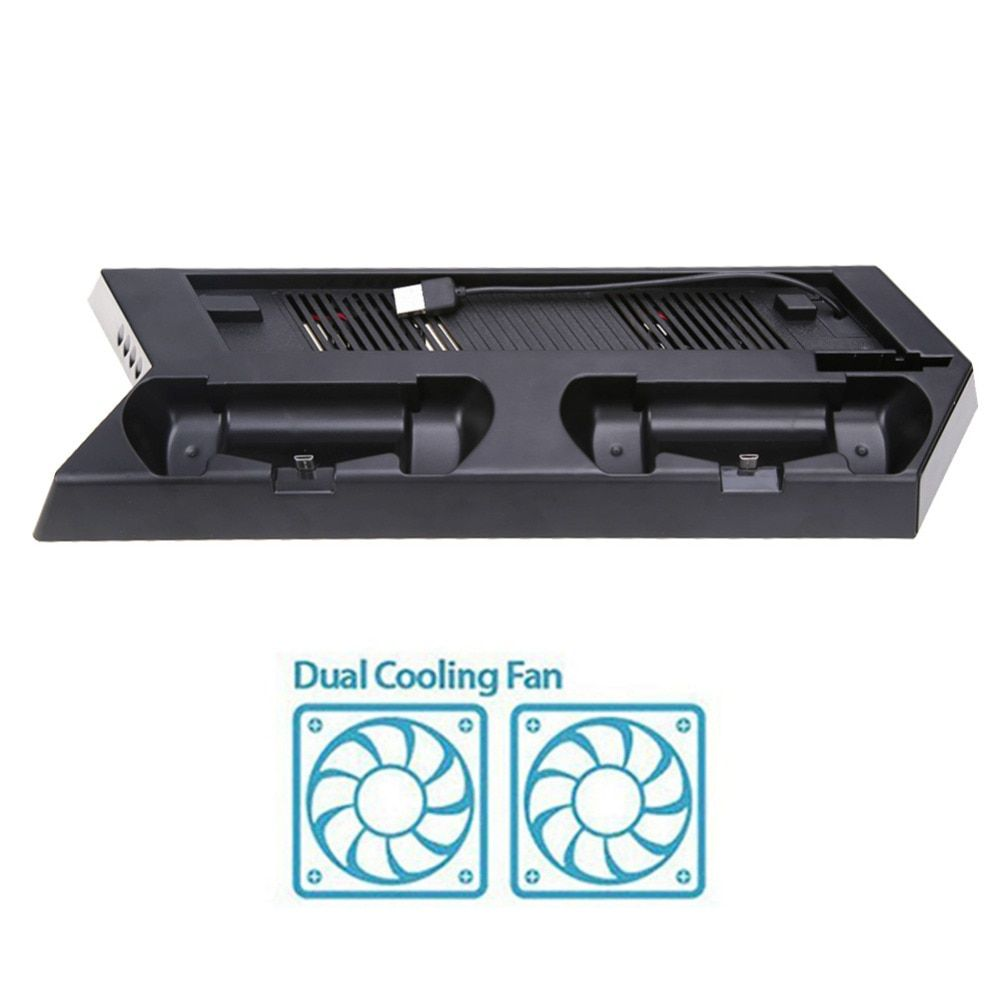 For PS4 Slim Console Vertical Game Console Stand Dock With Dual Charging Station Mutilfunction Cooling Fan Cooler Vertical Stand