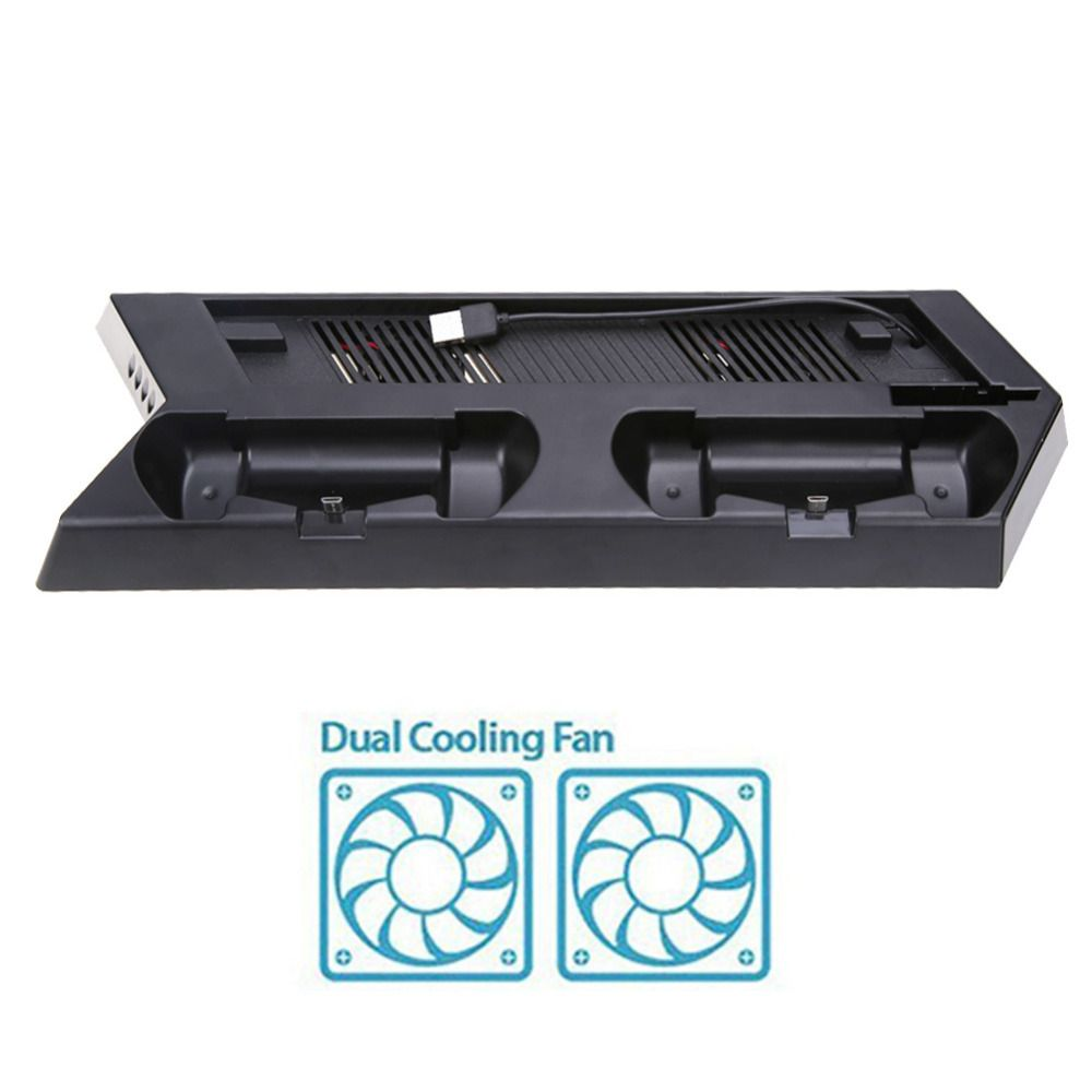 Vertical Game Console <font><b>Stand</b></font> Dock Dual Game Controller Gamepad USB Charger Station Holder with Cooling Fan for PS4 Slim Console