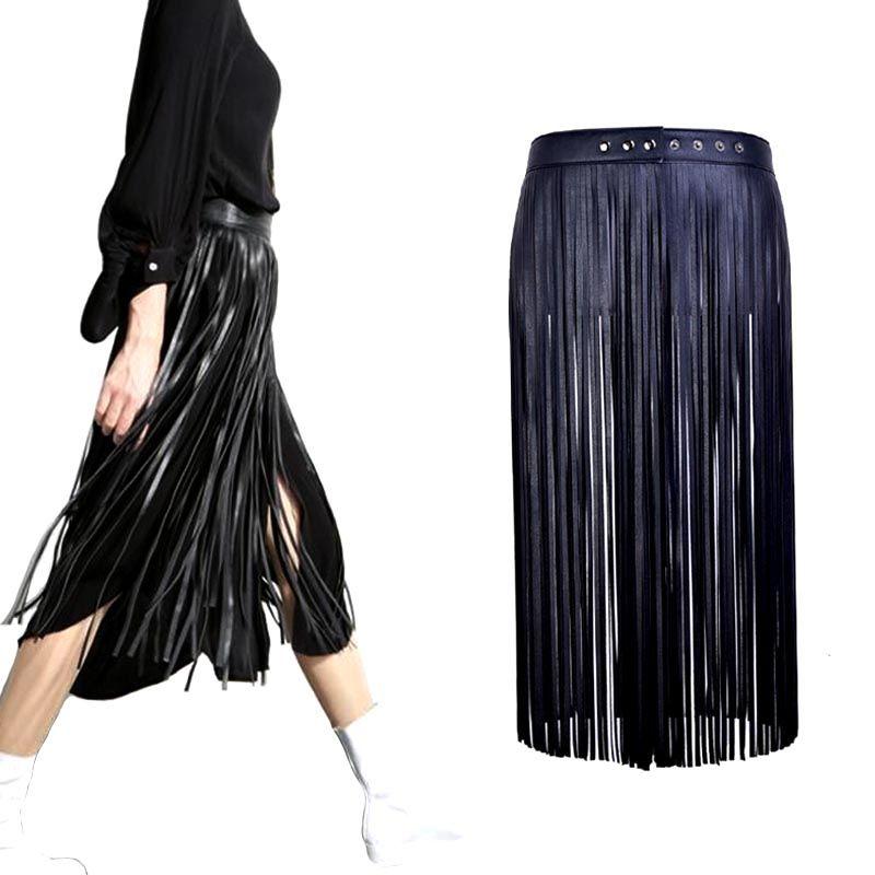 Vente chaude Sexy Boho long gland imitation en cuir ceintures de mode femmes Taille Haute Boucle En Métal en cuir jupe Ceintures accessoires
