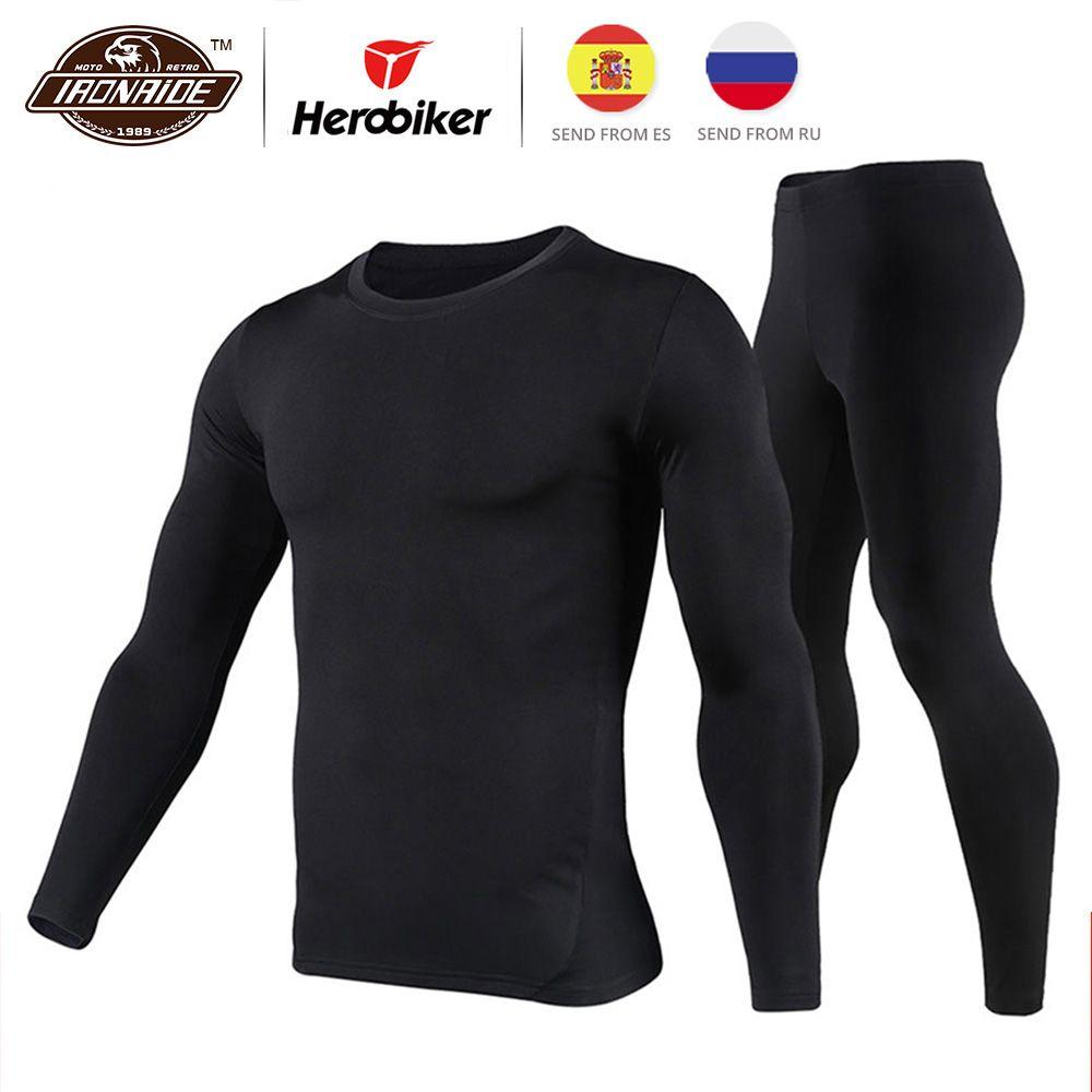 Herobiker Hommes Doublé Polaire Sous-Vêtements Thermiques Mis Moto Ski de Base Couche D'hiver Chaud Caleçon Long Shirts et Tops Bas costume
