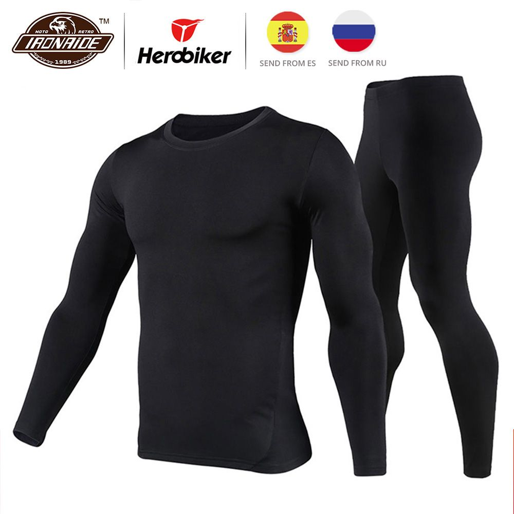 Herobiker Men's Fleece Lined Thermal Underwear Set Motorcycle Skiing Base <font><b>Layer</b></font> Winter Warm Long Johns Shirts & Tops Bottom Suit