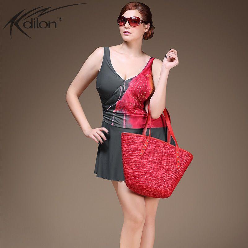 XL-4XL Plus Size Bademode Patchwork Badeanzug 2016 Sommer Badeanzug Badebekleidung Bade Kleid Schwimmen Rock Für Frauen