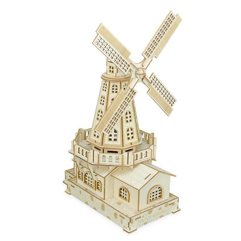 3D Wooden Puzzles DIY Assembly Kit Toy Kids Teens Adults World Famous Buildings Dutch Windmill Mechanical 3D Models Assemble