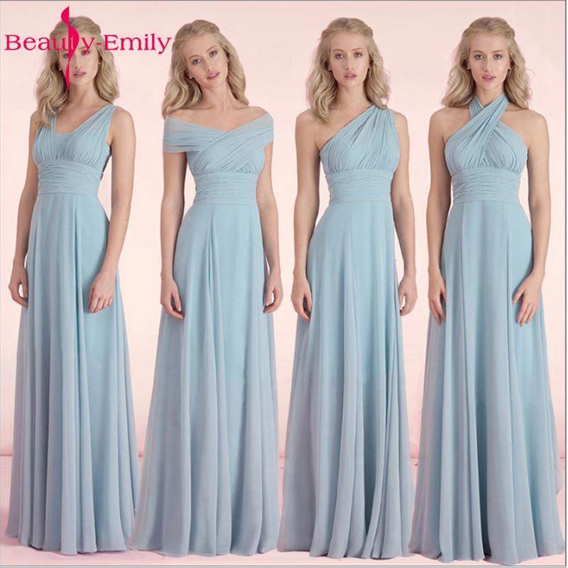 Belleza-emily Color Del Caramelo Barato Largo de La Gasa A-Line Vestidos de dama de Honor 2018 Vestido de dama de honra da Partido Vestidos de Baile